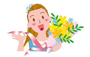 花を持つフローリスト